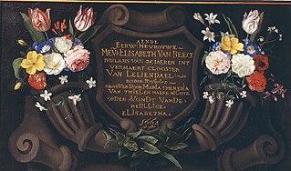 Flowers on a Memorial plaque for 25 years of service by sister elisabeth van Beeck of Leliendael
