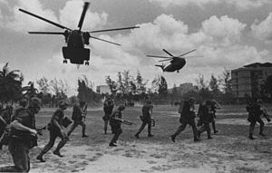 United States Marines deploy at LZ Hotel on 12 April 1975