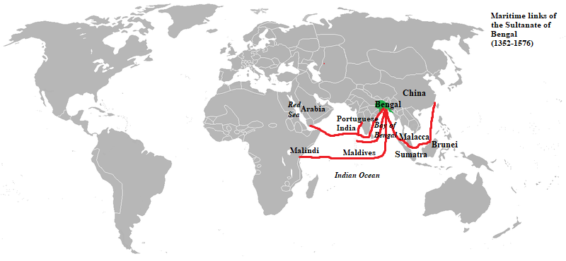 Maritime links of the Sultanate of Bengal