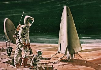 Mars in fiction - This image shows an artist's conception of the Mars Excursion Module (MEM) proposed in a NASA study in 1963, a manned mission to Mars concept that failed to pan out.