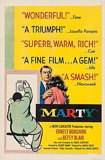 <i>Marty</i> (film) 1955 American romantic drama film directed by Delbert Mann