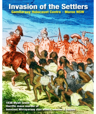 """Myall Creek massacre - Recolouration of Myall Creek Massacre scene lithograph - """"Australian Aborigines Slaughtered by Convicts, by Phiz, The Book of Remarkable Trials, 1840; Chronicles of Crime V. II, 1841."""" produced for a Gamilaraay Surviving Descendants community project"""