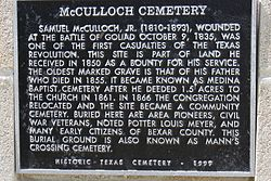 Photo of Samuel McCulloch, McCulloch Cemetery, San Antonio, TX, Samuel McCulloch, Jr., and Louis Meyer black plaque