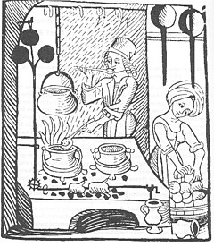 The roasting spit in this European medieval kitchen was driven automatically by a propeller—the black cloverleaf-like structure in the upper left.