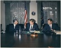 Meeting with the Shah of Iran. Mohammad Reza Shah Pahlavi, President Kennedy, Secretary of Defense Robert McNamara.... - NARA - 194206.tif