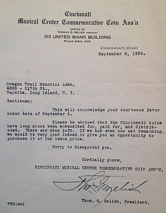 Cincinnati Musical Center half dollar - Letter from Melish to a would-be purchaser of the half dollar