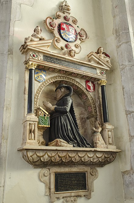 Mural monument to Katherine Smythe in Nettlestead Church, Kent, daughter of Thomas Smythe and wife of Sir John Scott of Nettlestead Memorial to Katherine Scott, St Marys church (geograph 3844814).jpg