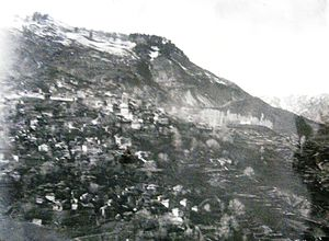 Metsovo - Panorama of the village Metsovo, 1899. Photo from the Manaki Brothers (Damaged glass plate)