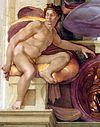 Michelangelo Sistine Chapel - Ignudo above Cumaean Sibyl - restored.jpg