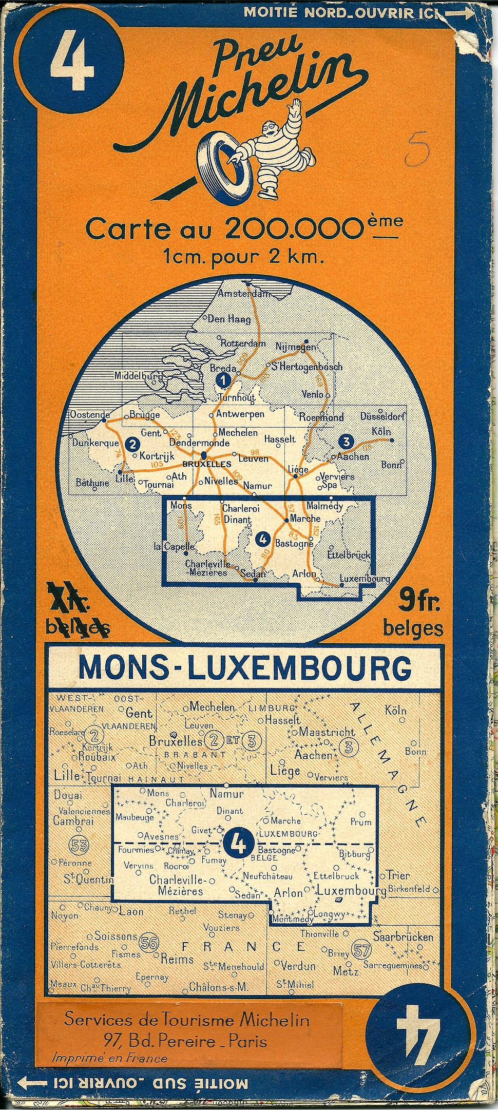 Michelin map nr 4 of 1940