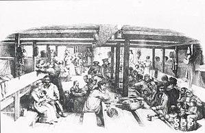 Fortitude (ship) - Migrants at dinner on the Fortitude, circa 1848