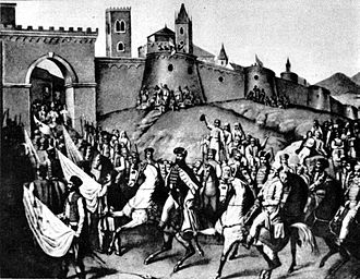 Michael the Brave entering Alba Iulia MihaiAlbaIulia-Lecca.jpg