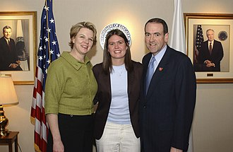 Sarah Sanders - Huckabee Sanders and Mike Huckabee in 2005