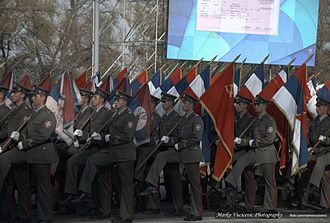 Belgrade Military Parade - Image: Military Parade Belgrade 2014 Serbian Soldiers with Russian Knights The Swifts (16637403998)