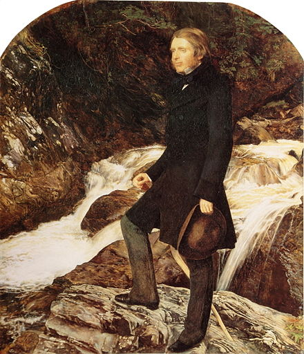 John Ruskin painted by the Pre-Raphaelite artist John Everett Millais standing at Glenfinlas, Scotland, (1853–54) Millais Ruskin.jpg