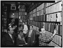Milt Gabler, Herbie Hill, Lou Blum, Jack Crystal. Commodore Record Shop, August 1947 (Gottlieb 01631).jpg