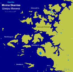 Minina Skerries - The complex coastline of the Minina Skerries.
