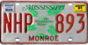 Mississippi license plate, 1976–1981 series with March 1981 sticker (Monroe County).png