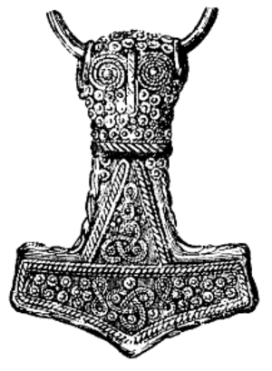 Mjölnir - Drawing of a Viking Age gold-plated silver Mjölnir pendant (length 4.6 cm) found at Bredsätra in Öland, Sweden, now kept in the Swedish Museum of National Antiquities