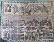A Iranian tile-work depicting the Penitents and their leader Sulayman ibn Surad, on horses, while a faceless men is in center of a group of workers with showels