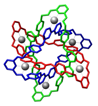 Crystal structure of molecular Borromean rings reported by Stoddart et al. (Science 2004) Molecular Borromean Rings Atwood Stoddart commons.png