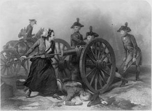 New Jersey in the American Revolution - Molly Pitcher taking over her husband's position at a cannon