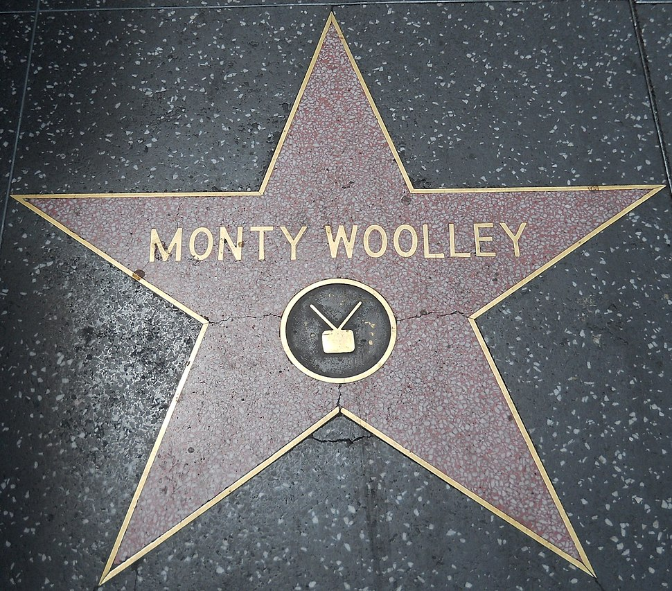 "Monty Woolley's star, showing a ""TV"" emblem, even though his category is ""Motion Pictures"""