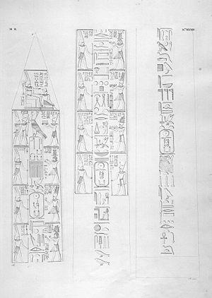 Karnak - Hieroglyphs from the great obelisk of Karnak, transcribed by Ippolito Rosellini in 1828