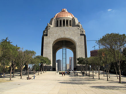 The Monument to the Revolution in Mexico City where the remains of Madero, Carranza, Villa, Cardenas, and Calles are entombed Monumento a la Revolucion 1.jpg