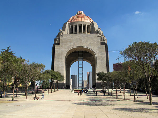 The Monument to the Revolution in Mexico City. It was to be the new legislative palace of the Díaz regime, but construction was interrupted by the Revolution. Monumento a la Revolución 1.jpg