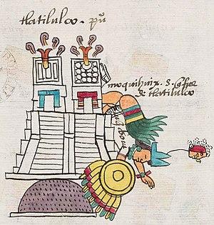 Moquihuix - Moquihuix's death as depicted in the Codex Mendoza.