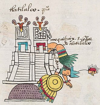 Moquihuix - Moquihuix's death as depicted in the Codex Mendoza.