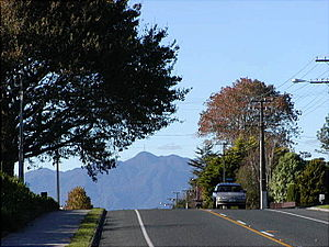 Morrinsville - Main Road into Morrinsville - Mt Te Aroha in the background