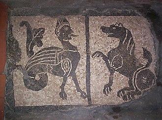 Montferrat - Mosaic of the 10th century lying on the grave of Aleramo, in the Abbey of Grazzano Badoglio.