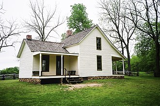 The farm house of Moses Carver (built in 1881), near the place where George Carver lived as a youth. Moses Carver Farm (7100120493).jpg