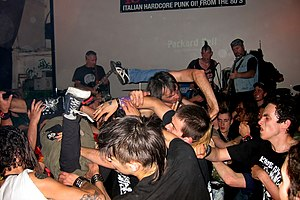 Moshing - A crowd of moshing music fans