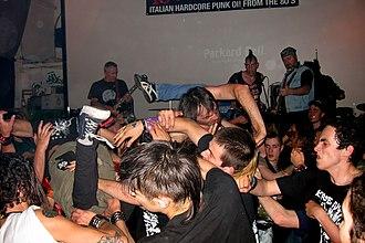 Moshing - A crowd of moshing music fans