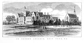 St Peter's College, Adelaide - An 1875 drawing of the school grounds. Old School House is centre-ground and the chapel is to the right.