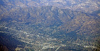 Interstate 210 and State Route 210 (California) - I-210 in La Crescenta-Montrose, below Mount Lukens. Intersection with Glendale Freeway at lower right-center.