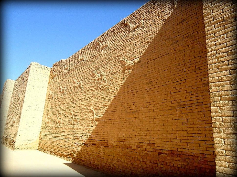 Mušḫuššu (sirrush) and aurochs on either side of the processional street. Ancient Babylon, Mesopotamia, Iraq