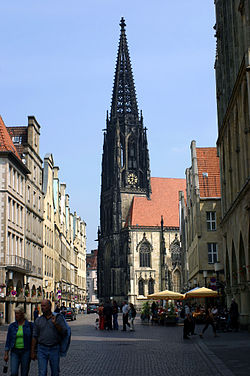 Münster: the Prinzipalmarkt with St Lambert's church.