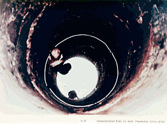 Ronald L. Haeberle - Haeberle photographing a body thrown into a well.