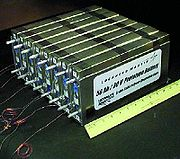 Prototypes of 75 watt-hour/kilogram lithium ion polymer battery. Newer Li-ion cells can provide up to 130 Wh/kg and last through thousands of charging cycles.