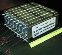 75 watt-hour/kilogram lithium ion polymer battery prototypes. Newer Li-poly cells provide up to 130 Wh/kg and last through thousands of charging cycles.