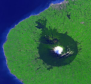 National parks of New Zealand - Satellite photo of Egmont National Park (the forested area)