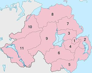 Lough Neagh - Districts of Northern Ireland, relative to Lough Neagh