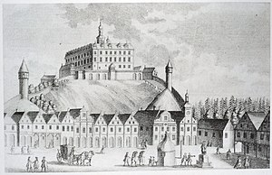 Náchod - Nachod square and castle ca. 1740.