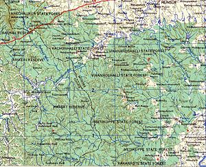 Nagarhole National Park - Topographic map of the area