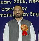 Naranbhai Rathwa at the inauguration of a National Technical Seminar on Mechanization of Track Maintenance, Relaying and Construction on Indian Railways in New Delhi on January 20, 2005 (cropped).jpg