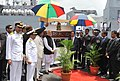 Narendra Modi at the Joint Commissioning of Offshore Patrol Vessel (OPV) Barracuda, at the Port Louis Harbour, in Mauritius on March 12, 2015. The Prime Minister of Mauritius, Sir Anerood Jugnauth is also seen (1).jpg